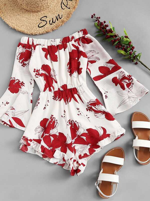 a541724cceb Off Shoulder Floral Print Flounce Sleeve Jumpsuit