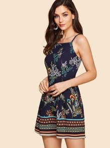 Floral Print Box Pleated Cami Dress