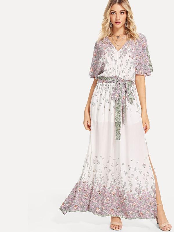b4690ea4bf3 Plunging V-Neckline Tie Waist Maxi Dress