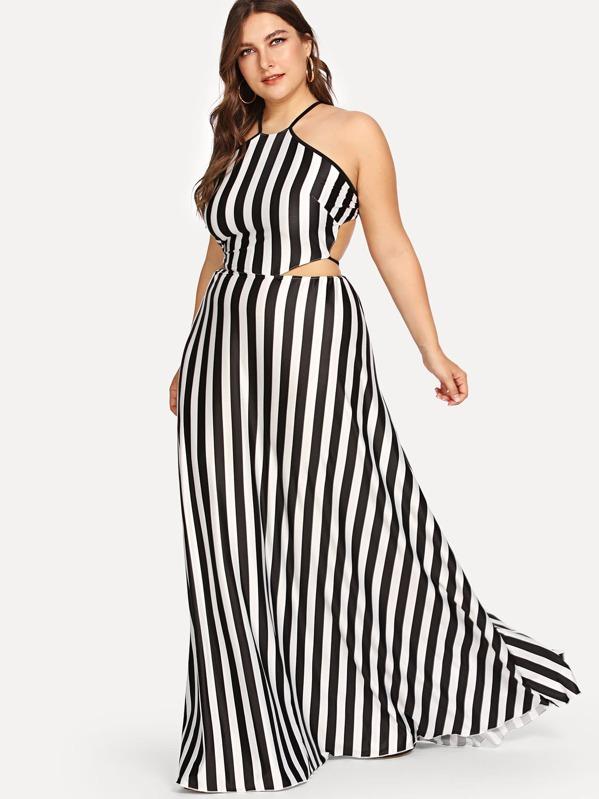 Plus Vertical Stripe Halter Dress | SHEIN