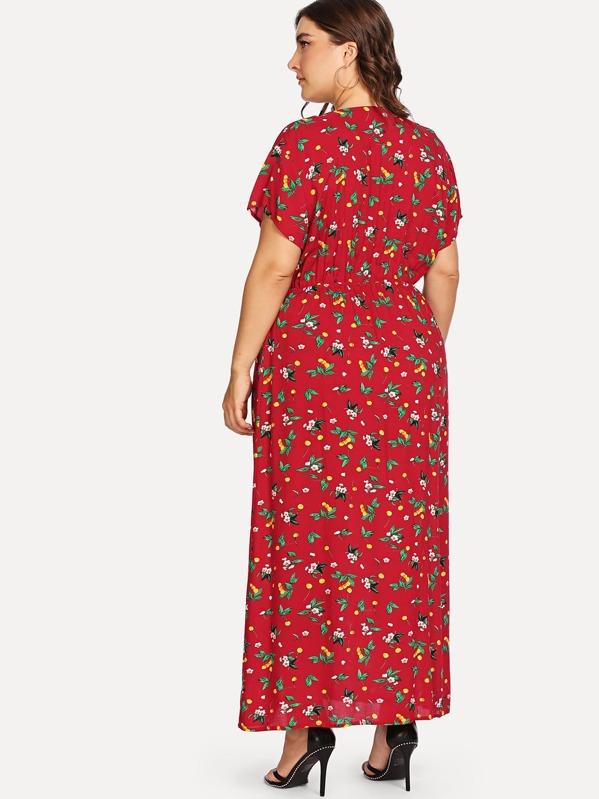 1d5b0d549c2d67 Grande taille Robe portefeuille asymétrique imprimée fleur