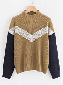 Lace Applique Contrast Sleeve Sweater