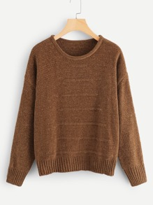 Drop Shoulder Chenille Sweater