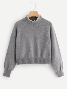 Lace Trim High Neck Heather Grey Sweater