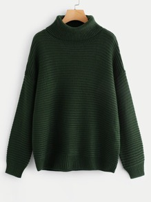 Turtleneck Drop Shoulder Rib Knit Sweater