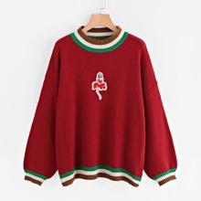 Striped Trim Lantern Sleeve Sweater