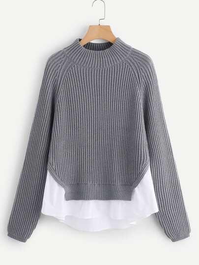 a3d511a90c04b6 Raglan Sleeve Contrast Trim Sweater