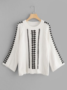 Contrast Lace Trim Chenille Sweater