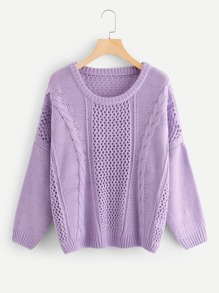 Cable Knit Hollow Out Sweater