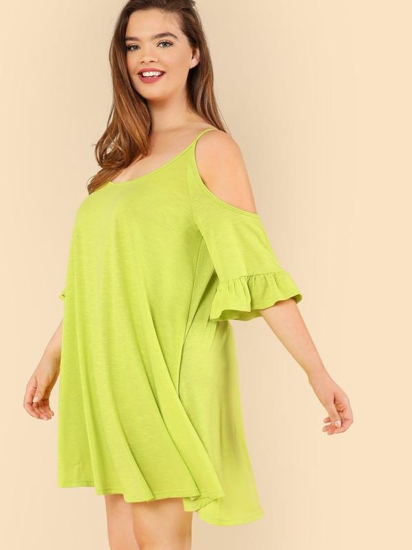 f94d61dfaddf Plus Open Shoulder Solid Swing Dress   SHEIN