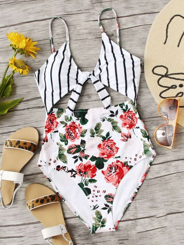 Floral & Striped Tie Front One Piece Swimsuit by Sheinside