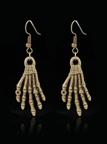 Skeleton Hand Design Drop Earrings 1pair