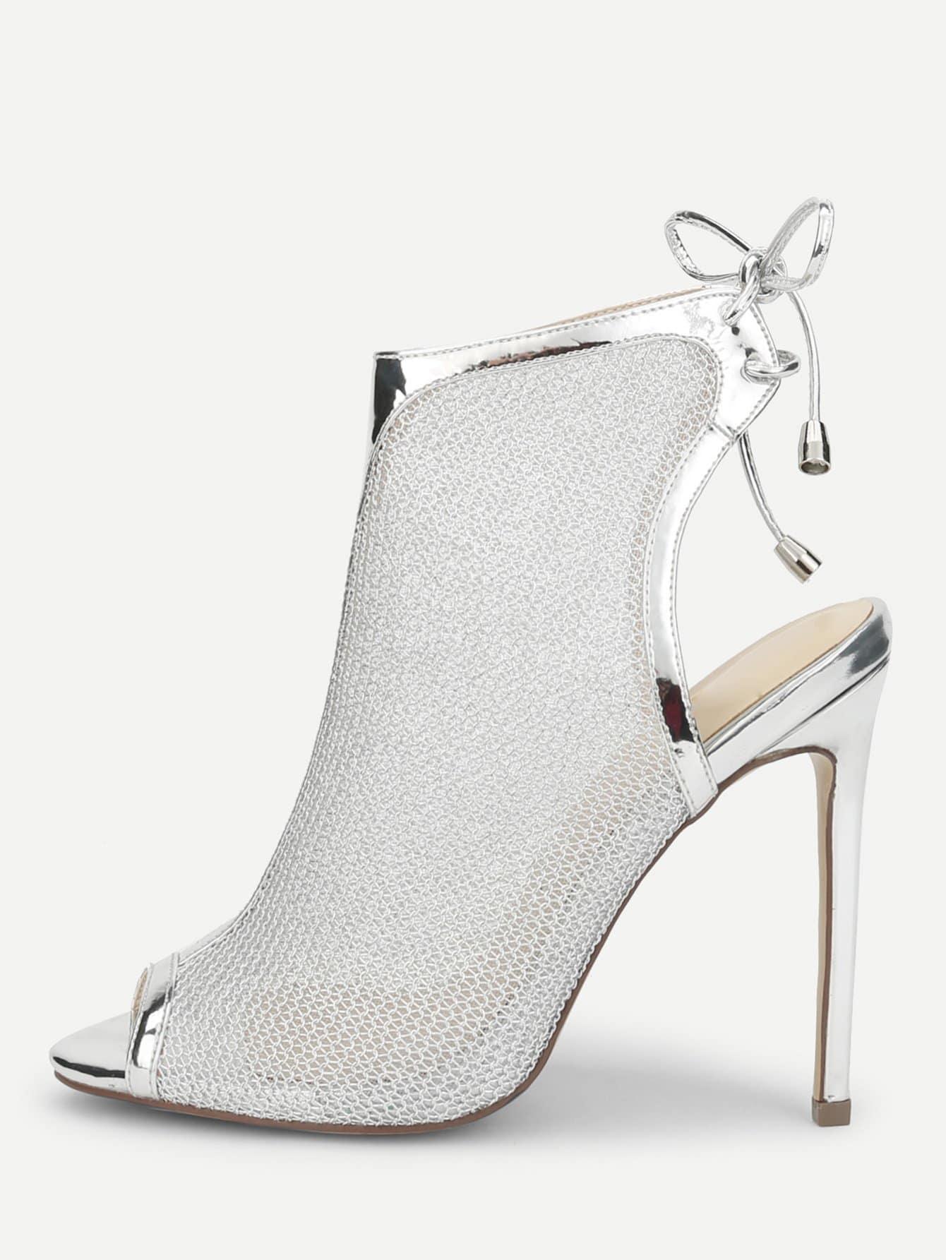 15907ead1b4 Peep Toe Mesh High Heeled Sandals -SheIn(Sheinside)