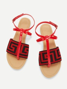 Geometric Pattern Toe Post Flat Sandals