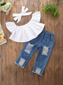 Kids Plain Crop Blouse With Destroyed Jeans