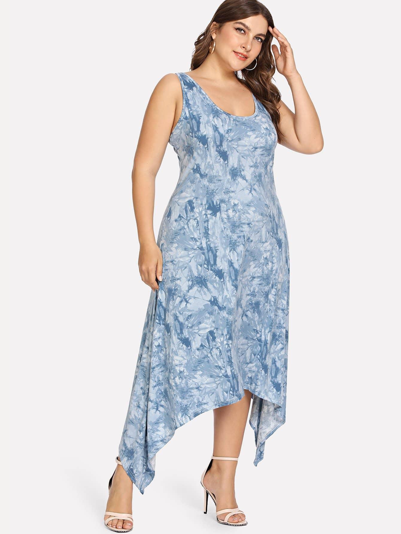 Plus Asymmetrical Hem Tie Dye Dress