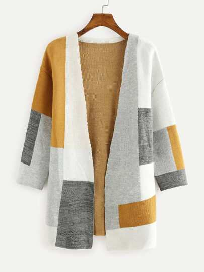 Colorblock Open Front Sweater Cardigan