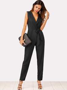 Zip Back Shawl Collar Knot Jumpsuit
