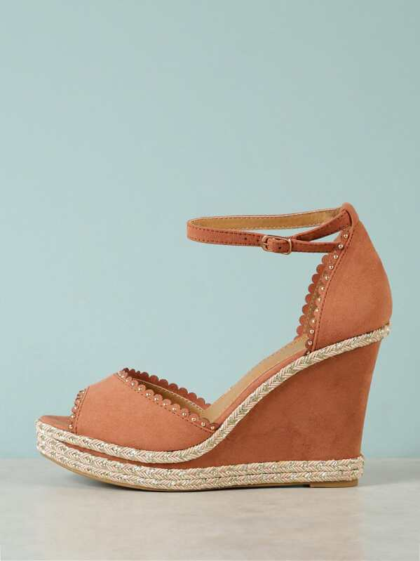 e9f86d71a39 Faux Suede Embellished Peep Toe Wedge Sandal