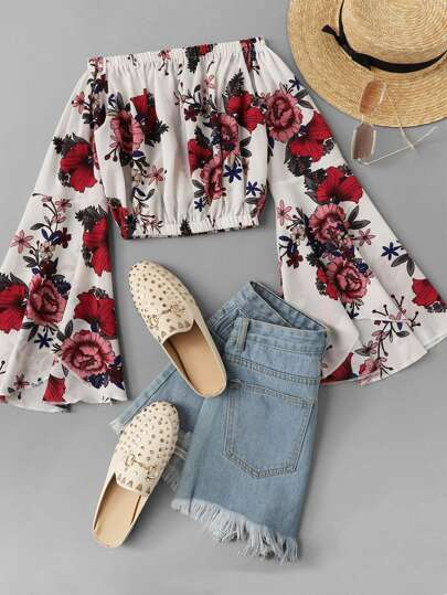 Fluted Sleeve Bardot Floral Crop Top