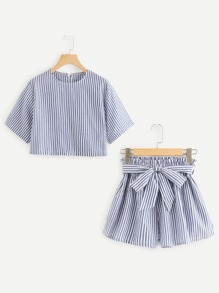 Vertical-Striped Crop Top With Self Tie Shorts