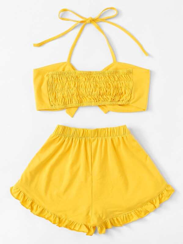 b9293f9fc6e15c Tie Front Crop Halter Top With Shorts