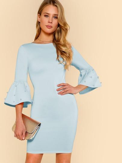 89cbaa6a4326 Pearl Embellished Flounce Sleeve Dress   SHEIN