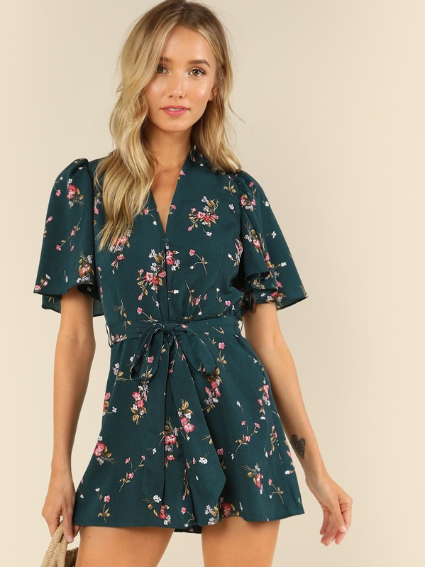 c6f86e9e7 Plunge Neck Flounce Sleeve Belted Ditsy Floral Romper | SHEIN UK