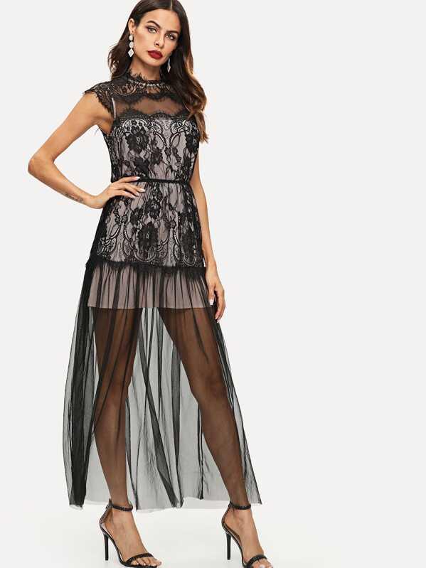 026c621fa26 Eyelash Lace Trim Mesh Overlay Maxi Dress
