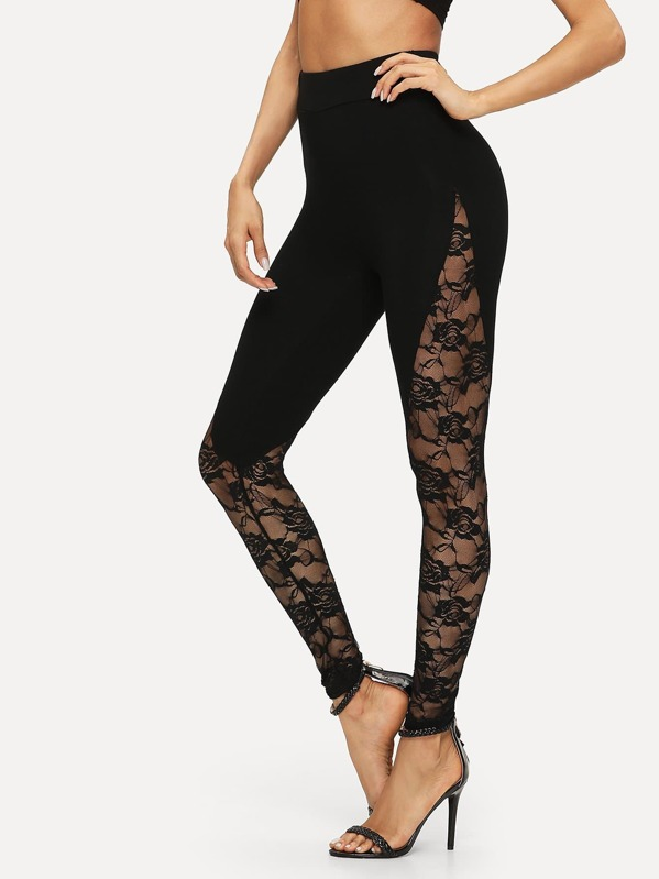 c50d687ab Sheer Floral Lace Insert Leggings