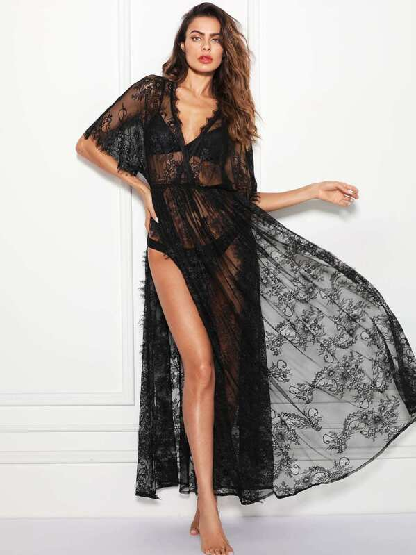 1ee1e672a Surplice Wrap Sheer Eyelash Lace Night Dress without Lingerie Set ...