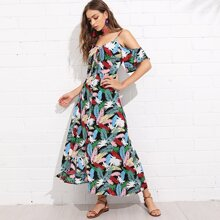 Palm Leaf Print Button Through Cold Shoulder Dress dress180515439