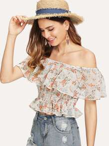 Flounce Off Shoulder Shirred Ditsy Top