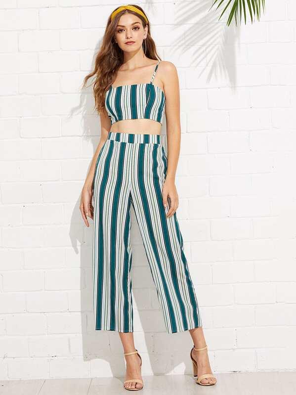 f1e35691ca88 Conjunto cami corto de rayas de espalda con cordón con pantalones culote