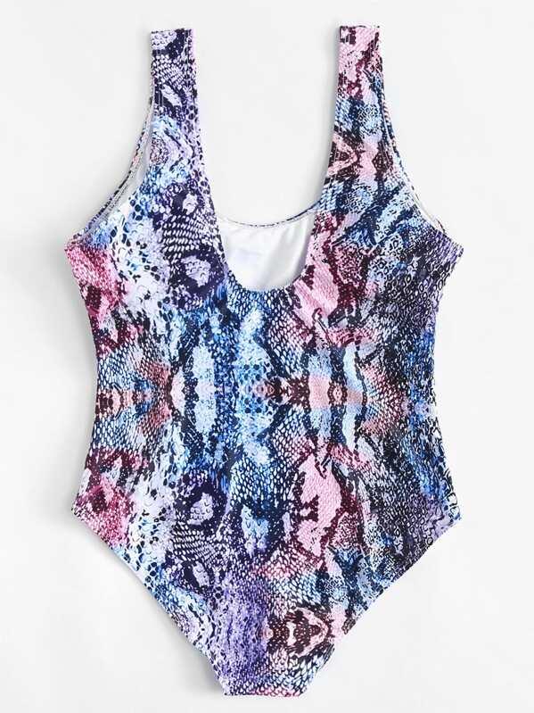 96294f10f2 Plus Snakeskin Print One Piece Swimsuit | SHEIN