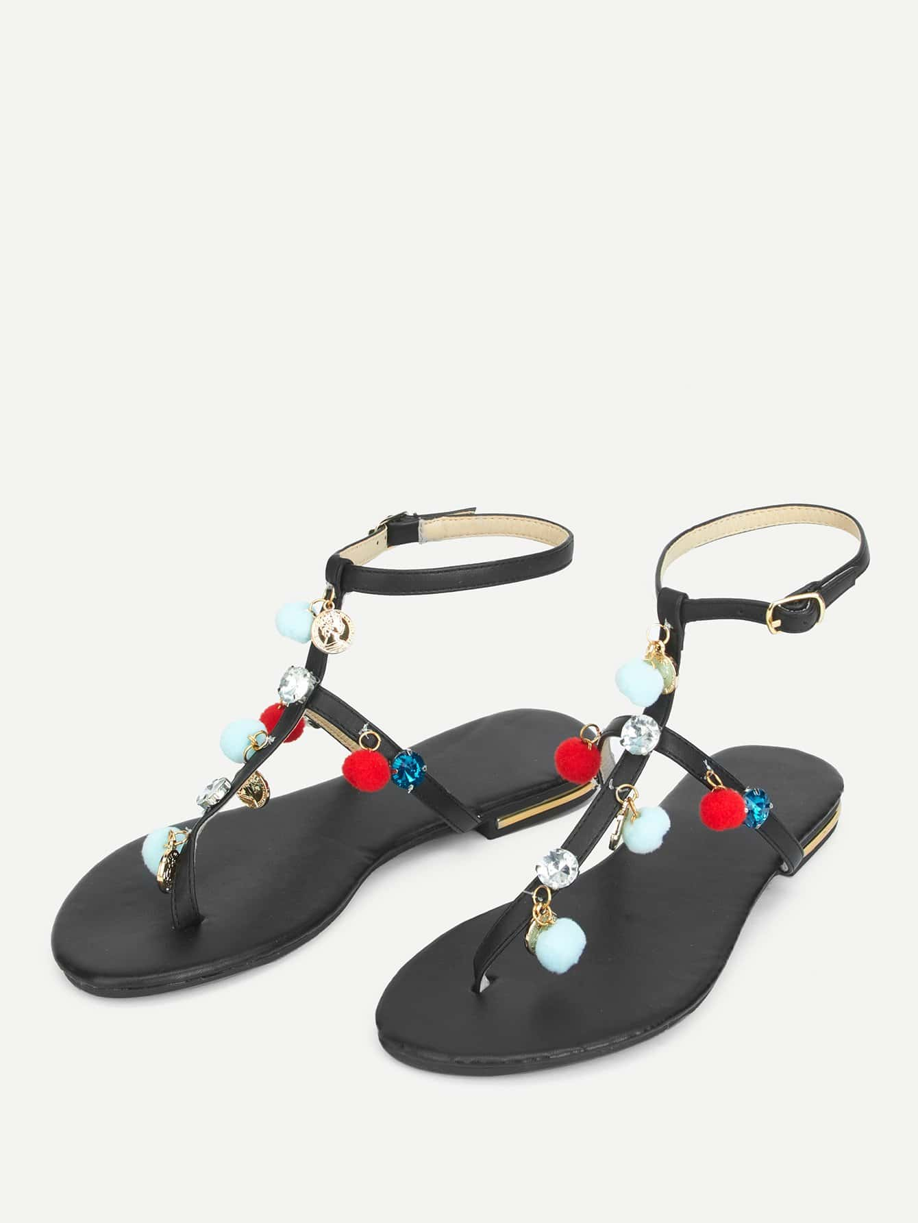 sandales plates avec pompon french romwe. Black Bedroom Furniture Sets. Home Design Ideas