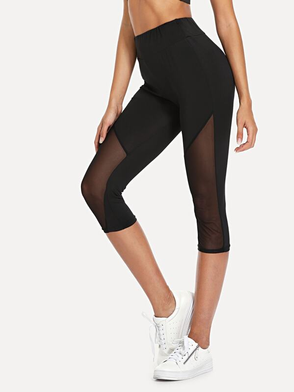 3188ffe54b1020 Cheap Sheer Mesh Panel Leggings for sale Australia | SHEIN