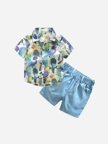 Toddler Boys Birds Print Shirt With Shorts