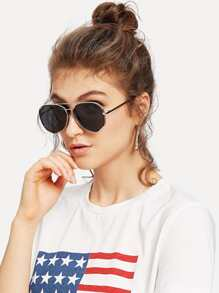 Two Bridge Metal Frame Sunglasses