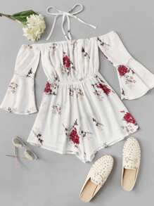 Floral Print Fluted Sleeve Romper