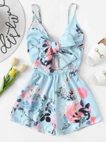 Tie Front Floral Print Cami Romper