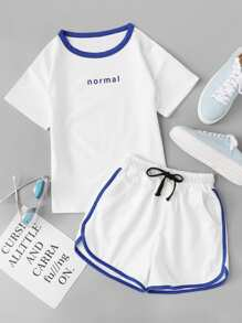 Letter Print Tee With Drawstring Waist Shorts