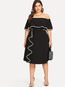 Plus Off Shoulder Tiered Ruffle Trim Dress