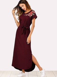 Split Side Embroidered Applique Dress