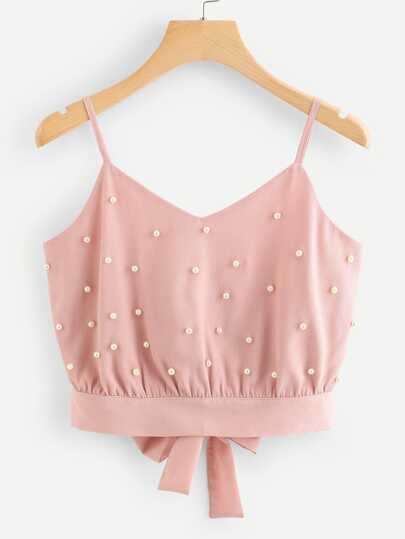 Pearl Beaded Split Tie Back Crop Cami Top