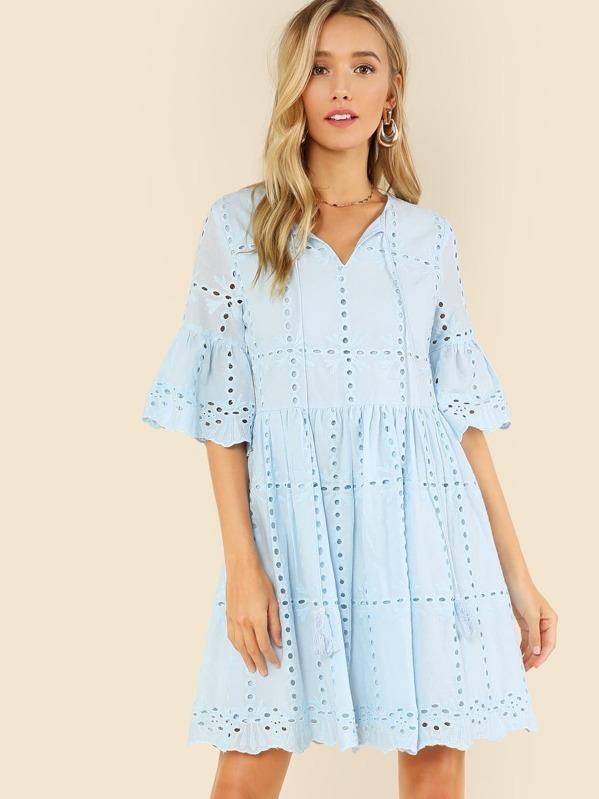 14bedcd111aa4 Tassel Tie Neck Eyelet Embroidered Smock Dress | SHEIN