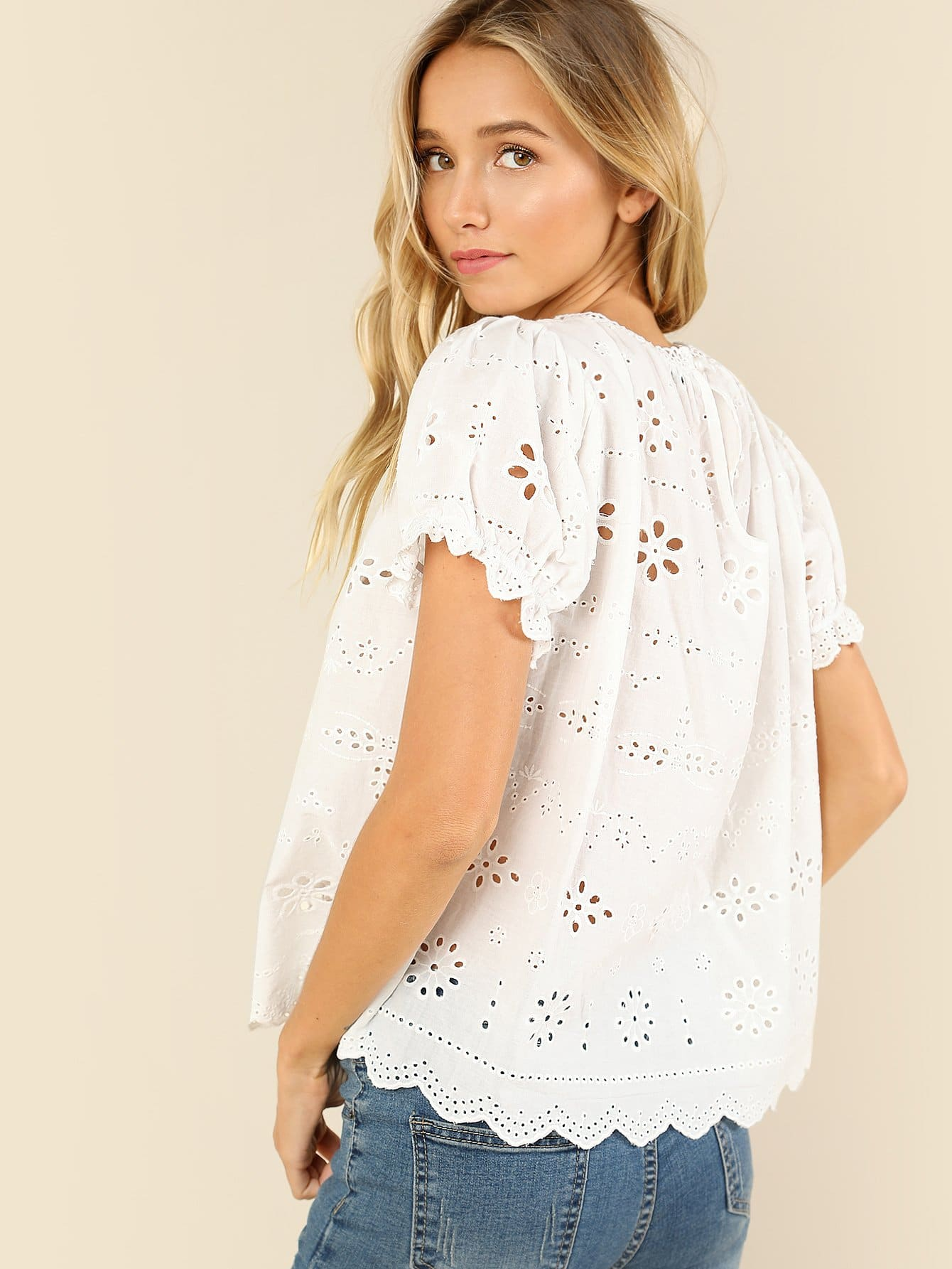 Puff Sleeve Eyelet Embroidered Top Shein Uk