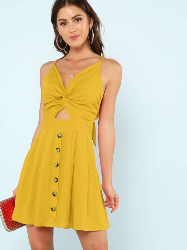 a22d4a08c1 Twist Front Fit & Flare Cami Dress | SHEIN