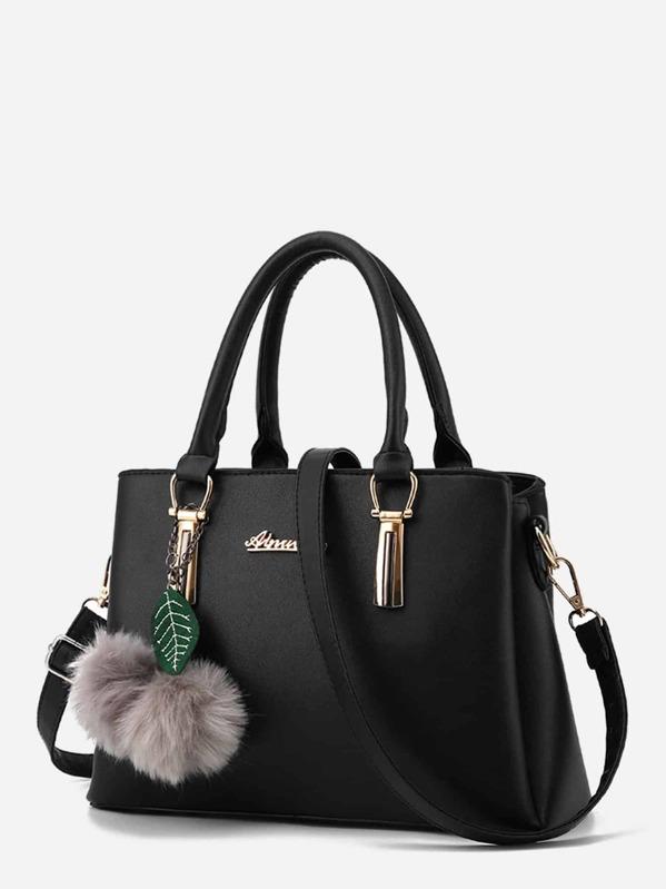 51216b07be Pom Pom Decor Leaf Shoulder Bag