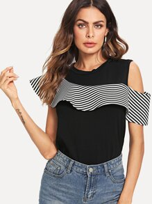 Open Shoulder Stripe Contrast Top